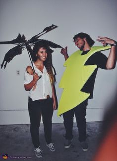 Coolest couples Halloween costumes – Struck With Lightning Homemade Costume… Unique Couples Costumes, Unique Couple Halloween Costumes, Funny Couple Halloween Costumes, Homemade Halloween Costumes, Halloween Costume Contest, Halloween Cosplay, Cool Costumes, Halloween Fun, Costume Ideas