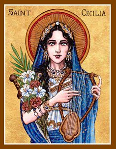St. Cecilia icon by Theophilia on deviantART ~ watercolor, ink & gold leaf