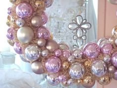 Wreath of pink silver and gold