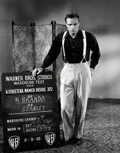 Marlon Brando's wardrobe test shots for A Streetcar Named Desire (1951), designed by Lucinda Ballard.