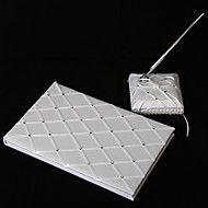 diamant rutenett mønster hvit sateng bryllup gjes... – NOK kr. 175