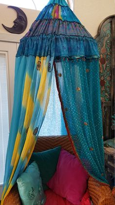 Bohemian Canopy for Chair or Bed, Glamping, Reading Nook, Garden, Backdrop, Dorm, Study Area, Meditation, Relaxation, Retreat by BohemianStitchesUS on Etsy