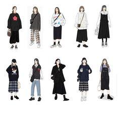 Korean Girl Fashion, Ulzzang Fashion, Korean Street Fashion, Kpop Fashion Outfits, Korea Fashion, Korean Outfit Street Styles, Korean Outfits, Kalender Design, Fashion Design Drawings