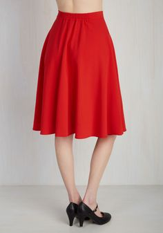 Just This Sway Skirt in Tomato. You definitely have that swing when you step out in this bright red midi skirt! #red #modcloth