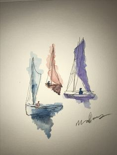 Simple sailboat watercolor painting