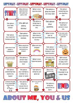 Board Game: About Me, You & Us - English ESL Worksheets for distance learning and physical classrooms English Games, English Activities, English Class, English Lessons, Learn English, English Vocabulary, English Grammar, Teaching English, Speaking Games