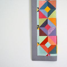 Cute design and pretty colors! Baby Quilt Modern Quilt Hand Dyed Fabric Wall by TwiggyandOpal, $150.00