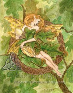 mickie mueller Oak Tree Fairy fairy watercolor original art painting fantasy
