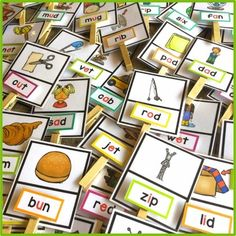 Clip and match the CVC words to the corresponding pictures. $