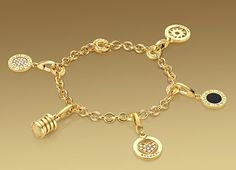 Bulgari: Bracelet in 18kt yellow gold, suitable for charm pendants