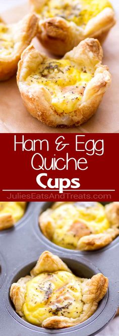 These easy Cheddar and Ham Quiche Cups are made with a puff pastry crust, making these a great quick-and-easy breakfast recipe! via @julieseats