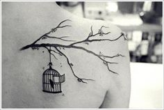 30 Beautiful Bird Tattoo Designs: Bird Cage Tattoo Ideas For Girl On Upper Back ~ Tattoo Design Inspiration