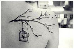 30 Beautiful Bird Tattoo Designs: Bird Cage Tattoo Ideas For Girl On Upper Back ~ Tattoo Design Inspiration