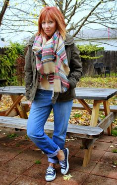 October Faves Plus Where's Waldo: Striped Sweatshirt, Plaid Blanket Scarf And Converse - Fashion Fairy Dust