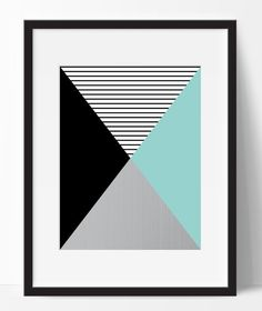 Geometric print triangle printable abstract by ElfinaGraphics