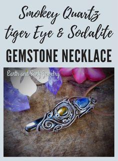 Smokey Quartz/ Tiger Eye/ Sodalite crystal necklace pendant, Healing crystal clay gemstone necklace, Free Worldwide Shipping included