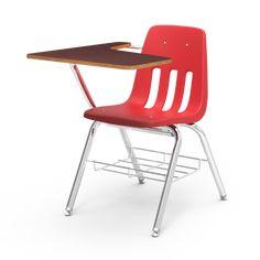 Mid Century Virco Red Arm Chair Desk Vintage School
