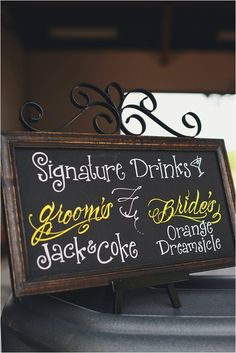 signature drinks- this is just a cool idea for any occasion! Love it
