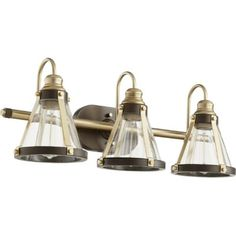 Bath Light Banded Cone Vanity 3 Lamp Aged Brass/Oiled Bronze Glass or Shade Clear Medium 100 Watt Bronze Bathroom, Bathroom Vanity Lighting, Bathroom Fixtures, Contemporary Style Bathrooms, Glass Vanity, Transitional Wall Sconces, Cool Floor Lamps, Bath Light, Elk Lighting