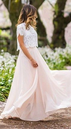 #spring #streetstyle |White Lace Top + Pink Maxi Skirt | Lace & Locks