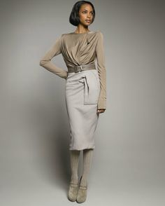 This outfit from bergdorf goodman is so darn chic! It is a power and elegance all in one. That's my fantasy self. Donna Karan, Crepe Skirts, Bergdorf Goodman, Modest Fashion, Cover Up, Bodysuit, High Neck Dress, Dresses For Work, Elegant