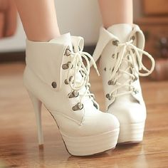 Plus size small yards boots riding boots lacing ankle-length boots thin heels high-heeled shoes roll up hem women's boots white $49.00