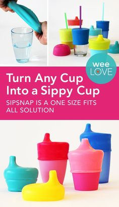 SipSnap is a spill-proof cup lid that's an airtight seal over any cup without handles. You can use the glasses you already have to help your tot transition from a bottle to a cup!