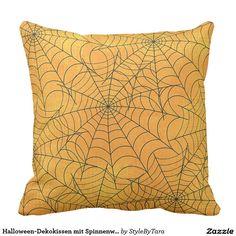 Halloween-Dekokissen mit Spinnenweben Zierkissen