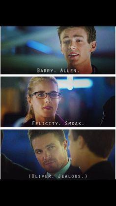 Arrow and The Flash . Barry Allen, Felicity Smoak and Oliver Jealous Arrow Felicity, Oliver And Felicity, Team Arrow, Arrow Tv, The Flash, Arrow Flash, Arrow Memes, Arrow Oliver, Dc Tv Shows
