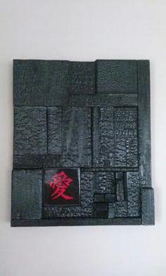 Ceramic Love symbol Shou-sugi-ban wall hanging. Carved Wood Wall Art, Wood Wall Decor, Diy Wall Art, Abstract Sculpture, Wood Sculpture, Wall Sculptures, Wood Mosaic, Mosaic Art, Bois Diy