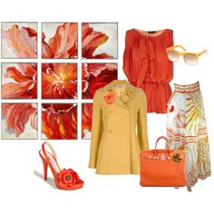 Orange Blouse, Yellow Coat, Floral Skirt, created by wendy-sheets on Polyvore