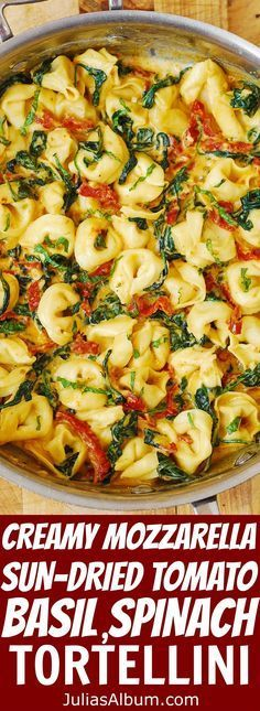 Creamy Tortellini smothered in a delicious Mozzarella Cheese sauce with Sun-Dried Tomatoes, Basil & Spinach . Easy comfort food dinner made in 30 minutes! #pasta