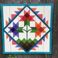 Carolina Lily Barn Quilt on Western Red Cedar Barn Quilt Designs, Barn Quilt Patterns, Quilting Designs, Art Patterns, Block Patterns, Half Square Triangle Quilts, Square Quilt, Painted Barn Quilts, Quilt Storage