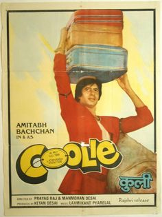 "Coolie (1983). This Amitabh Bachchan, Rati Agnihotri, Rishi Kapoor and Kadar Khan starer was directed by Manmohan Desai.  This movie was a super hit. Music was by Laxmikant-Pyarelal. Some memorable songs from the movie include: ""Mujhe Peene Ka Shauk Nahi"", ""Jawani Ki Rail Kahin"", ""Lambuji Tinguji"", Humka Ishq Hua"", ""Mubarak Ho Tumko Haj Ka Mahina"" and ""Sari Duniya Ka Bhoj Hum Uthate Hain"", Amitabh had a near fatal accident during an action scene in this movie.  T"