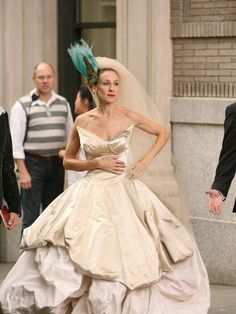 The 50 best tv and movie wedding dresses, including Game of Thrones, Outlander and Sex and the City. Worst Wedding Dress, Movie Wedding Dresses, Most Beautiful Wedding Dresses, Wedding Movies, Amazing Dresses, Wedding Outfits, Wedding Gowns, Carrie Bradshaw Wedding Dress, Vogue Wedding