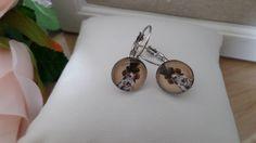 boucles d'oreilles dormeuses cabochon verre chien steampunk-12mm diamètre-métal san nickel-cadeau pour elle de la boutique Domidora sur Etsy