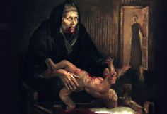 """In Icelandic folklore, a woman name Grýla eats children who misbehave on Christmas. Redditor Snabbus linked to a painting of Grýla, a character historically referenced by Icelandic parents to scare children straight. In the 17th century, she was linked to Christmas as the mother of the Yule Lads — """"our version of Santa Clause,"""" Snabbus writes. A number of Icelandic Redditors confirm and elaborate on the story. The OP later linked to the artist behind this gruesome depiction."""
