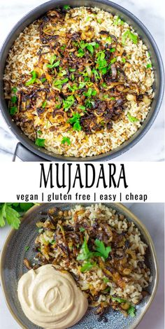 Mujadara (Lentils and Rice) - Contentedness Cooking Easy and inexpensive: this Mujadara is super easy to make with simple ingredients. Full of flavor and texture that the whole family will love. Naturally vegan and seriously delicious. Vegan Dinner Recipes, Veggie Recipes, Indian Food Recipes, Whole Food Recipes, Vegetarian Recipes, Cooking Recipes, Healthy Recipes, Vegan Lentil Recipes, Vegan Recipes With Rice