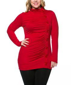 Look at this #zulilyfind! Red Asymmetrical Button-Up Top - Plus by Celeste #zulilyfinds