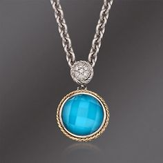 Andrea Candela Turquoise Doublet Pendant Necklace in Sterling Silver and 18kt Gold. 16""