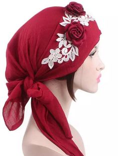 63b0cbe1af3 Red with flowers head cap turban Hijab beanie chemo hat scarf by  AyahSCollections on Etsy https