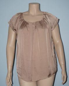 Dressbarn-NWT-2x-Tan-Tiered-Ruffle-Cap-Sleeve-Pleated-Peasant-Blouse-Top