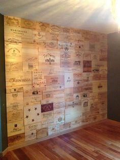 Wine crate accent wall in my dream basement wine tasting room
