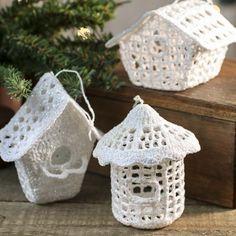 White Iridescent Crocheted Birdhouse Ornament