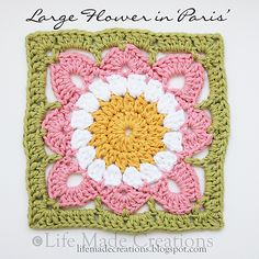 """Very similar to J. Eaton's 'Willow' square.  This 7"""" x 7"""" square is DROPS 120-59 pattern - http://www.ravelry.com/patterns/library/120-59-crochet-pot-holders-with-squares-in-paris   . . . .   ღTrish W ~ http://www.pinterest.com/trishw/  . . . .   #crochet #flower #motif"""