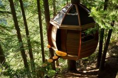 Egg-Shaped HemLoft Treehouse is Nestled in the Forests of Whistler Hemloft by Joel Allen – Inhabitat - Sustainable Design Innovation, Eco Architecture, Green Building Cool Tree Houses, Home Modern, Tree House Designs, Green Architecture, Architecture Background, Great Vacations, Egg Shape, In The Tree, Whistler