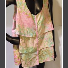 Tiered sleeveless blouse.. Elegant. Size 16 Greens pinks , blues flowing. Very feminine and flowing Sunset Rd Tops Camisoles