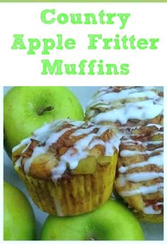 Country Apple Fritter Muffins Fluffy buttery white cake muffins loaded with chunks of apples and layers of brown sugar and cinnamon swirled inside and on top Simply Irre. Apple Desserts, Apple Recipes, Muffin Recipes, Dessert Recipes, Breakfast Recipes, Breakfast Ideas, Apple Breakfast, Breakfast Cookies, Homemade Desserts