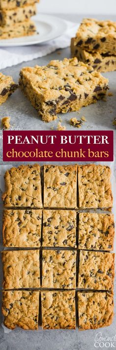 These peanut butter chocolate chunk bars are easy to throw together, making a delicious snack! They're also the perfect solution to satisfy a chocolate craving.