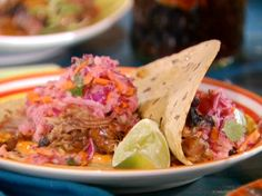 Cuban Pulled Pork Tacos with Guava Glaze, Sour Orange Red Cabbage-Jicama Slaw and Chipotle Mayonnaise Recipe : Bobby Flay : Food Network